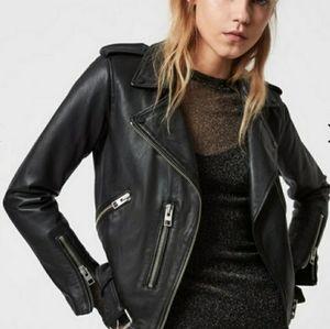 Allsaints Balfren Biker Black Leather Jacket Size 2